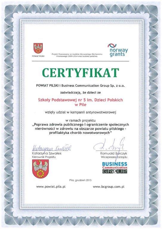 certyfikat dot. kampani antynikotynowej