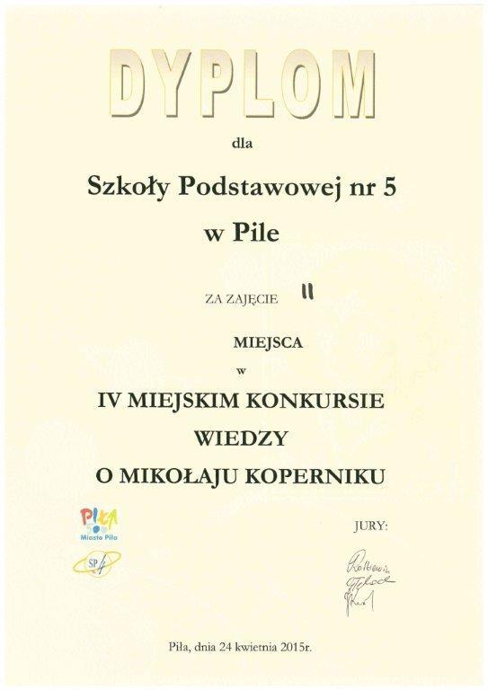dyplom - konkurs wiedzy o M. Koperniku